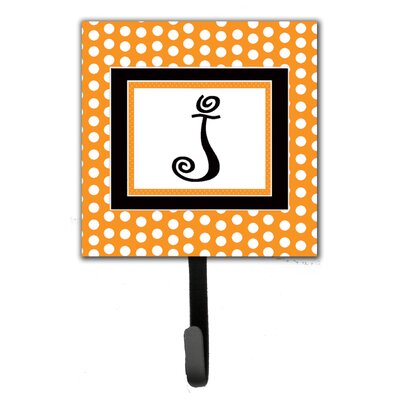 Monogram Polkadots Leash Holder and Wall Hook Letter: J