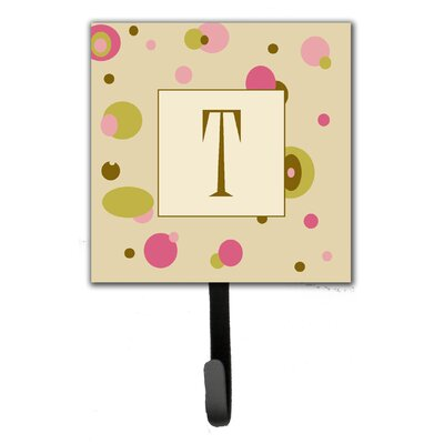 Monogram Dots Leash Holder and Wall Hook Letter: T
