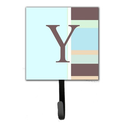 Monogram Stripes Leash Holder and Wall Hook Letter: Y