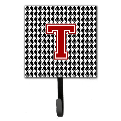 Houndstooth Leash Holder and Wall Hook Letter: T