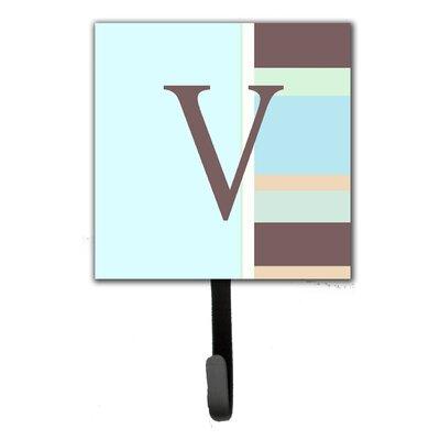 Monogram Stripes Leash Holder and Wall Hook Letter: V