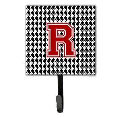 Houndstooth Leash Holder and Wall Hook Letter: R