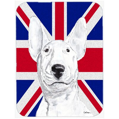 Union Jack Bull Terrier with English British Flag Glass Cutting Board