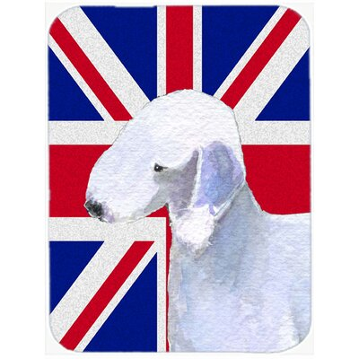 Union Jack Bedlington Terrier with English British Flag Glass Cutting Board