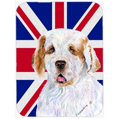 Union Jack Clumber Spaniel with English British Flag Glass Cutting Board