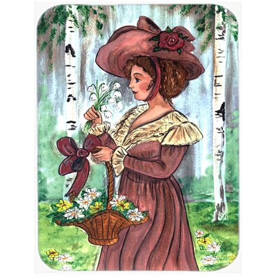 Fancy Lady with Hat and Flowers Glass Cutting Board