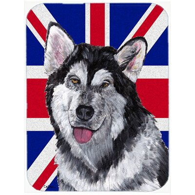 Union Jack Alaskan Malamute with English British Flag Glass Cutting Board