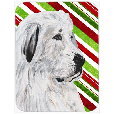 Great Pyrenees Candy Cane Christmas Glass Cutting Board