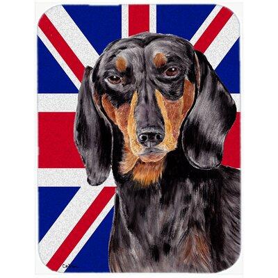 Union Jack Dachshund with English British Flag Glass Cutting Board