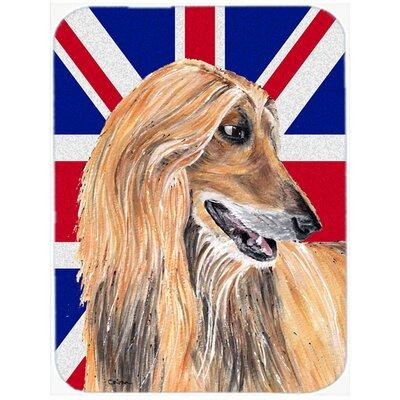 Union Jack Afghan Hound with English British Flag Glass Cutting Board