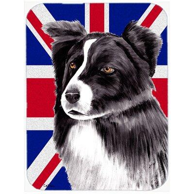 Union Jack Border Collie with English British Flag Glass Cutting Board