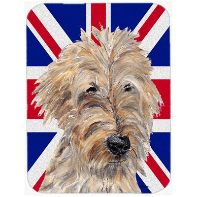 Union Jack Goldendoodle with English British Flag Glass Cutting Board