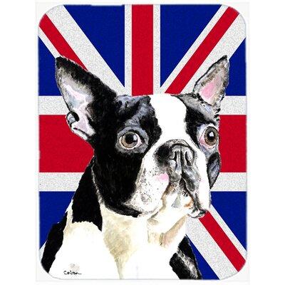 Union Jack Boston Terrier with English British Flag Glass Cutting Board