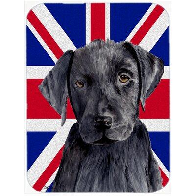 Union Jack Labrador with English British Flag Glass Cutting Board