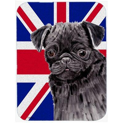 Union Jack Pug with English British Flag Glass Cutting Board