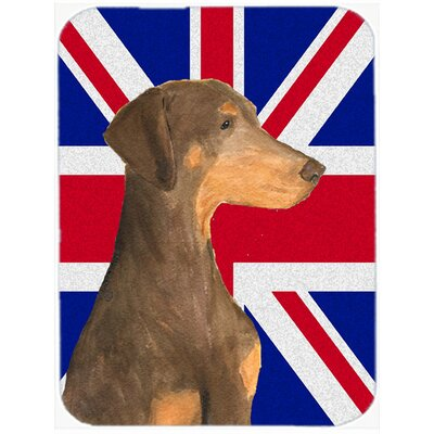 Union Jack Natural Ears Doberman with English British Flag Glass Cutting Board
