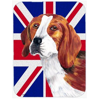 Union Jack Beagle with English British Flag Glass Cutting Board