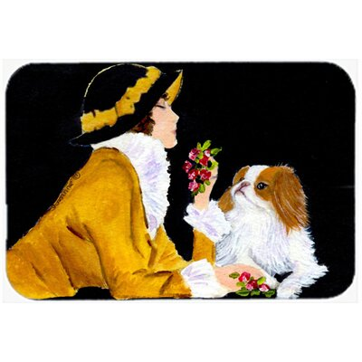 Lady with Her Yorkie Glass Cutting Board