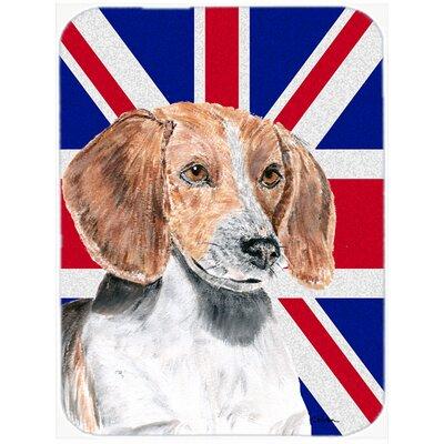 Union Jack English Foxhound with English British Flag Glass Cutting Board