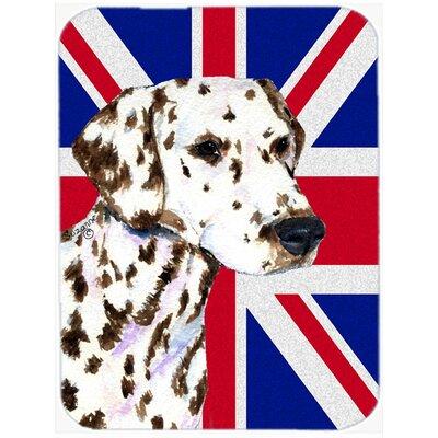 Union Jack Dalmatian with English British Flag Glass Cutting Board