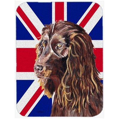 Union Jack Boykin Spaniel with English British Flag Glass Cutting Board