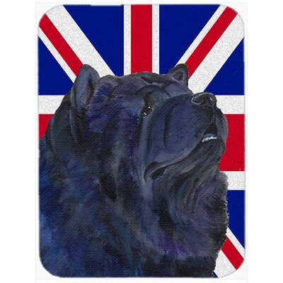 Union Jack Chow Chow with English British Flag Glass Cutting Board