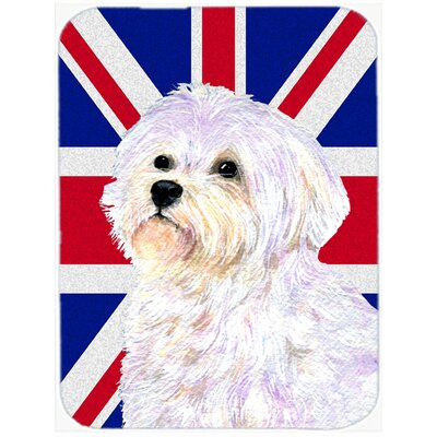 Union Jack Maltese with English British Flag Glass Cutting Board