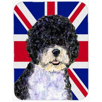 Union Jack Portuguese Water Dog with English British Flag Glass Cutting Board
