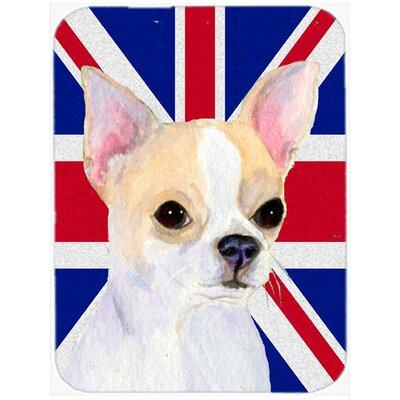 Union Jack Chihuahua with English British Flag Glass Cutting Board