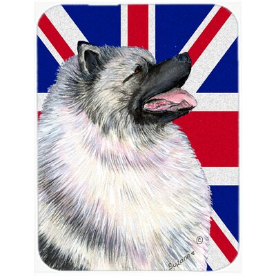 Union Jack Keeshond with English British Flag Glass Cutting Board