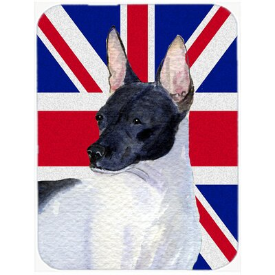 Union Jack Rat Terrier with English British Flag Glass Cutting Board