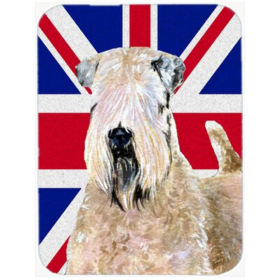 Union Jack Soft Coated Wheaten Terrier with English British Flag Glass Cutting Board