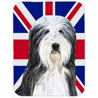 Union Jack Bearded Collie with English British Flag Glass Cutting Board