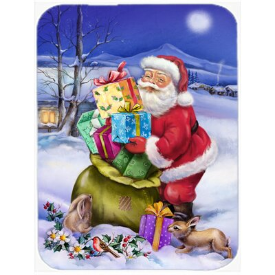 Christmas Santa Claus with Rabbits Glass Cutting Board