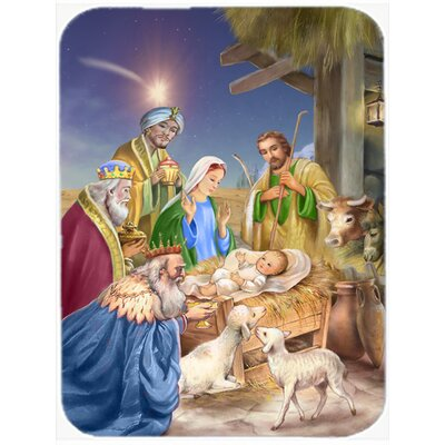 Christmas Nativity with Wise Men Glass Cutting Board