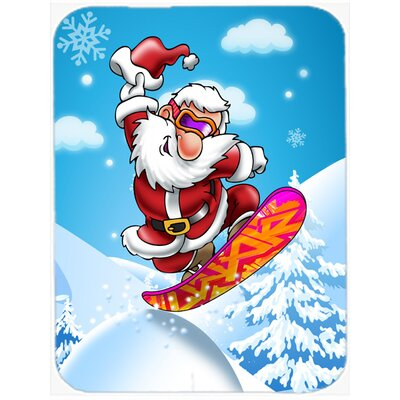 Christmas Santa Claus Snowboarding Glass Cutting Board