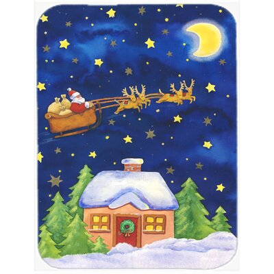 Christmas Santa Claus Across the Sky Glass Cutting Board