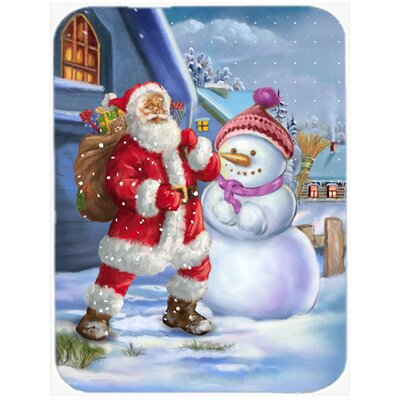 Christmas Santa Claus and Snowman Glass Cutting Board