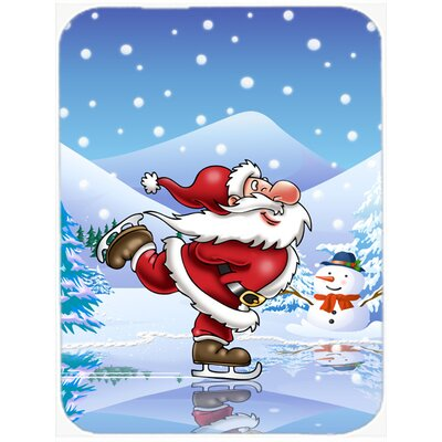 Christmas Santa Claus Ice Skating Glass Cutting Board