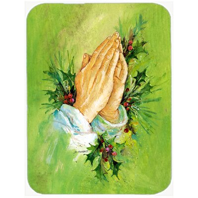 Praying Hands with Holly Leaves Glass Cutting Board