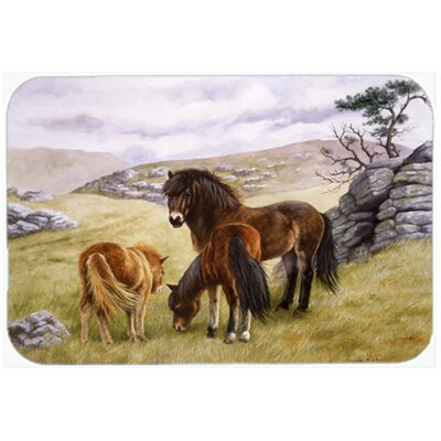 Horses in the Meadow Glass Cutting Board