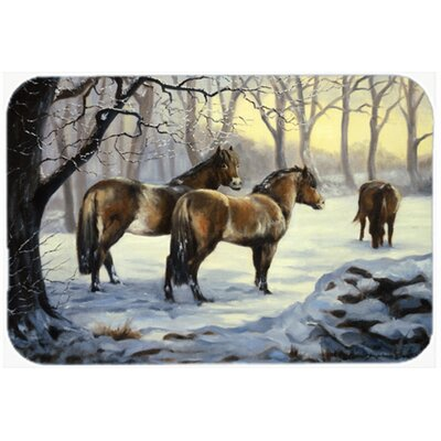 Horses in Snow Glass Cutting Board