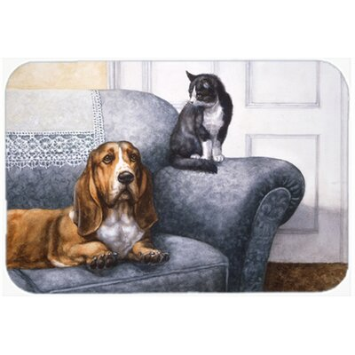 Basset Hound and Cat on couch Glass Cutting Board