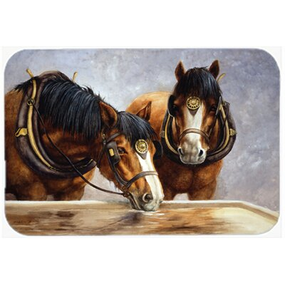Horses Taking a Drink of Water Glass Cutting Board