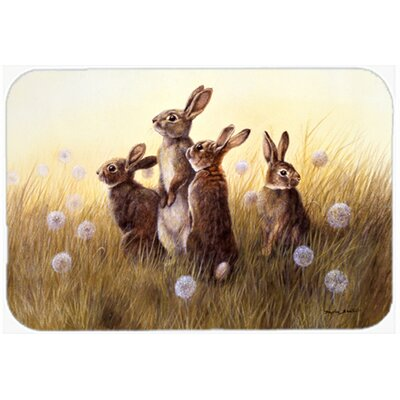 Rabbits in the Dandelions Glass Cutting Board
