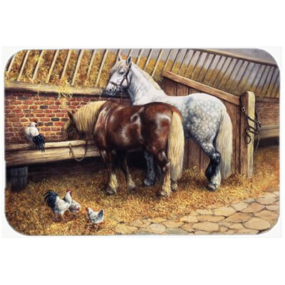 Horses Eating with the Chickens Glass Cutting Board