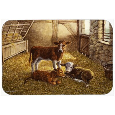 Cows Calves in the Barn Glass Cutting Board