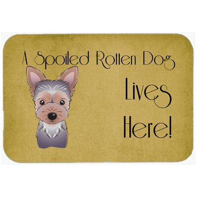 "Yorkie Puppy Spoiled Dog Lives Here Kitchen/Bath Mat Size: 20"" W x 30"" L"