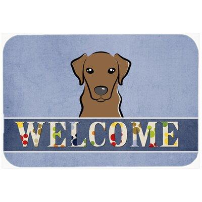 "Labrador Welcome Kitchen/Bath Mat Size: 20"" W x 30"" L, Color: Chocolate"