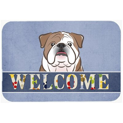 "English Bulldog Welcome Kitchen/Bath Mat Color: Brown, Size: 24"" W x 36"" L"